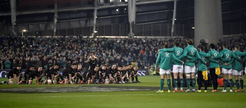 New Zealand players perform the haka. Photograph: Clodagh Kilcoyne/Reuters