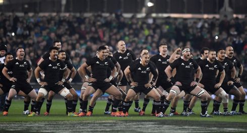 New Zealand players perform the haka before the match. Photograph: Clodagh Kilcoyne/Reuters
