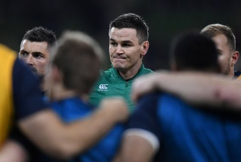 Johnny Sexton in the Ireland huddle before the game. Photograph: Clodagh Kilcoyne/Reuters