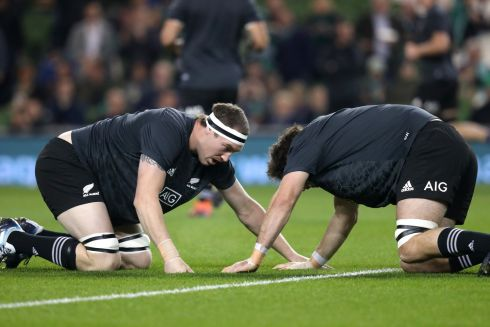 New Zealand's Brodie Retallick and Samuel Whitelock before the game. Photograph: Billy Stickland/Inpho