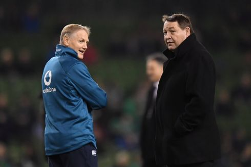 Joe Schmidt and Steve Hansen  before the match. Photograph: Clodagh Kilcoyne/Reuters