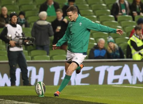 Ireland out Johnny Sexton during the warm-ups. Photograph: Billy Stickland/Inpho