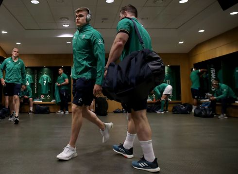 Ireland's Garry Ringrose and Cian Healy in the Ireland dressingroom before the game. Photograph: Dan Sheridan/Inpho