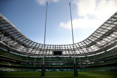 A view of the Aviva stadium ahead of the game. Photograph: Dan Sheridan/Inpho