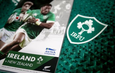 A view of the match programme and Ireland jersey in the Ireland dressingroom ahead of the game. Photograph: Dan Sheridan/Inpho