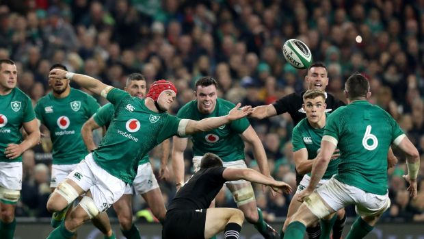 Ireland's Josh van der Flier reaches for the ball during the autumn international against New Zealand at the Aviva stadium. Photograph: Billy Stickland/Inpho