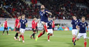 Scotland's Steven Fletcher  celebrates scoring his side's second goal of the game from a penalty during the Uefa Nations League Group C1 against Albania  at the Loro Borici Stadium in Shkoder. Photograph: Adam Davy/PA Wire