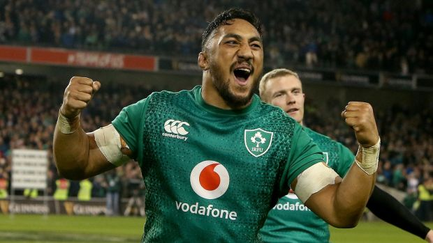 Bundee Aki celebrates after the game. Photo: Oisin Keniry/Inpho