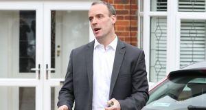 Dominic Raab speaking outside his Surrey home.  Photograph: Andrew Matthews/PA Wire