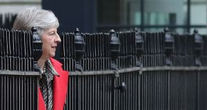Britain's prime minister Theresa May leaves 10 Downing Street. Photograph: Daniel Leal-Olivas/AFP