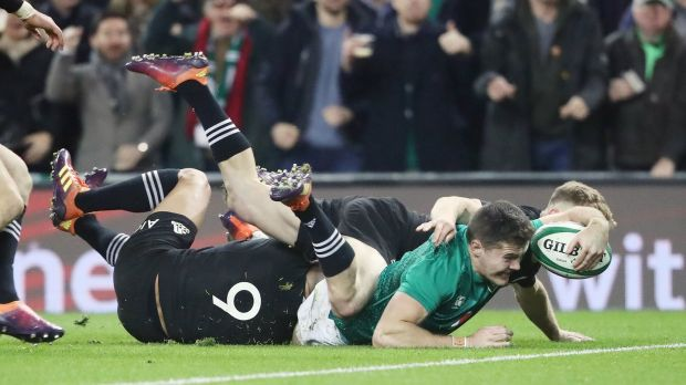 Jacob Stockdale scores Ireland's try against the All Blacks. Photograph: Niall Carson/PA