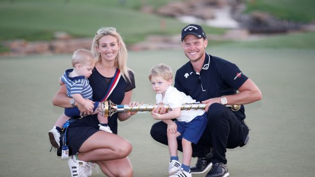 Danny Willett with his wife Nicola and Children after his victory in Dubai. Photograph: Ali Haider/EPA