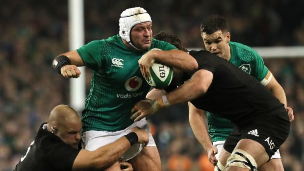 Ireland skipper Rory Best carries against the All Blacks. Photograph: Brian Lawless/PA