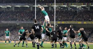 Peter O'Mahony claims a lineout. He took the game to New Zealand at every turn during the  historic night at the Aviva Stadium. Photograph:  Dan Sheridan/Inpho