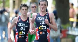 Jonathan Brownlee and Alistair Brownlee taking part in  the 2014  World Triathlon in Japan.  Two years later the brothers shot to global fame in the final moments of a big international triathlon.  Photograph: ITU/Delly Carr via Getty Images
