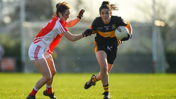 Ciara O'Sullivan of Mourneabbey in action against Lisa Gannon of Kilkerrin-Clonberne during the All-Ireland Ladies Senior Club Football Championship semi-final at Clonberne Sports Field. Photograph: Eóin Noonan/Sportsfile
