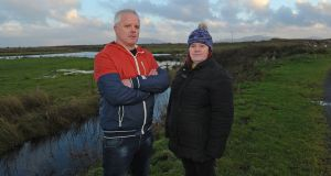 Alan and Eileen Mullarkey, who have been affected by construction on the wind farm project in north Mayo. Photograph: Conor McKeown