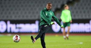 Michael Obafemi during the Ireland training session at Ceres Park in Aarhus ahead of Monday night's Nations League game against Denmark. Photograph: Ryan Byrne/Inpho