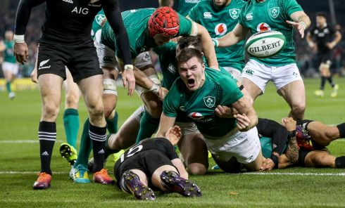 GROUNDED: Ireland's Jacob Stockdale celebrates scoring Ireland's first try against the All Blaks with Josh van der Flier on Saturday, November 17th. Photograph: INPHO/Gary Carr