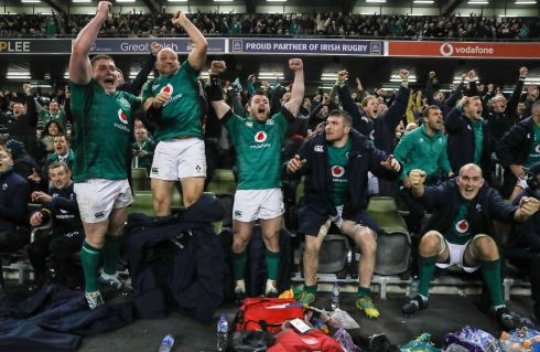 VICTORY: Ireland's Tadhg Furlong, Rory Best, Cian Healy, Peter O'Mahony and Devin Toner celebrate their test match win over New Zealand in the Aviva Stadium on Saturday, November 17th. Photograph: INPHO/Billy Stickland