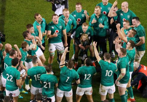 TOGETHER: Ireland celebrate after their win on the pitch after game against the All Blacks. Photograph: INPHO/Tommy Dickson
