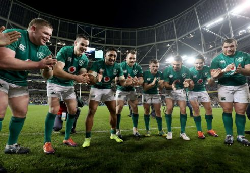 CLAP: Tadhg Furlong, Jonathan Sexton, Bundee Aki, Cian Healy, Luke McGrath, Rob Kearney, Joey Carbery and Jack McGrath celebrate Ireland's historic win after the match against New Zealand Photograph: INPHO/Dan Sheridan