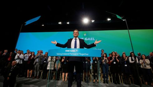 CENTRE STAGE: An Taoiseach Leo Varadkar addresses the delegates at the Fine Gael Árd Fheis on Saturday, November 17th. Photograph: Nick Bradshaw/The Irish Times