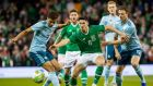 Republic of Ireland's Callum O'Dowda in action with Jamal Lewis and Jonny Evans of Northern Ireland during the scoreless draw at the Aviva last week. Photograph:  Morgan Treacy/Inpho