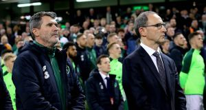 Ireland assistant manager Roy Keane and manager Martin O'Neill at the Aviva Stadium for the game against Northern Ireland. Photograph: Ryan Byrne/Inpho