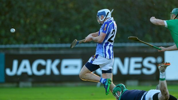 Ballyboden's Colm Basquel scores a goal in the AIB Leinster Senior Hurling Championship semi-final win over Coolderry at Parnell Park. Photograph: Oisín Keniry