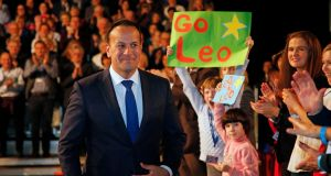 Taoiseach Leo Varadkar addresses delegates at the Fine Gael Ardfheis. Photograph: Nick Bradshaw