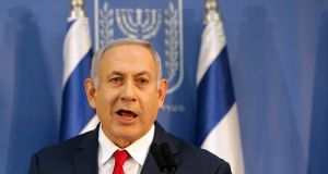 Israel's prime minister Benjamin Netanyahu delivers a statement to the members of the media in Tel Aviv, Israel. Photograph: Reuters/ Corinna Kern