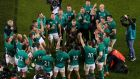 Ireland celebrate victory over New Zealand at the Aviva Stadium in Dublin on Saturday. Photograph: Tommy Dickson/Inpho