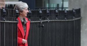 British prime minister Theresa May hopes to travel to Brussels this week to sign off on a political declaration on the future relationship between Britain and the EU. Photograph: Daniel Leal-Olivas/AFP/Getty Images