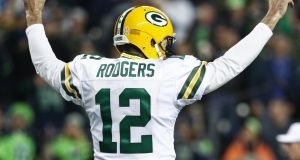 Aaron Rodgers saw his Green Bay Packers side lose a crunch clash with Seattle. Photograph: Abbie Parr/Getty