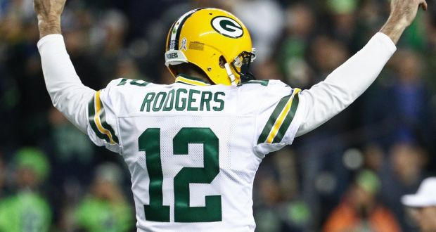 86fa1888cd2 Aaron Rodgers saw his Green Bay Packers side lose a crunch clash with  Seattle. Photograph