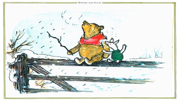 """What day is it?"" ""It's today,"" squeaked Piglet. Illustartion from AA Milne's Winnie the Pooh."