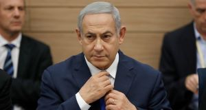 Israeli prime minister Binyamin Netanyahu: in a speech, cited unspecified security challenges ahead and hinted at future action by Israel against its enemies. Photograph:  Abir Sultan/EPA