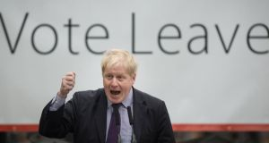 File photograph: Boris Johnson speaking at a rally for the Vote Leave organisation during the Brexit referendum campaign on March 11th, 2016 Photograph: Stefan Rousseau/PA Wire