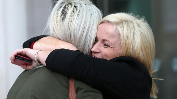 Leona O'Callaghan hugs a supporter outside the Central Criminal Court after Patrick O' Dea (51) of Pike Avenue, Limerick, was jailed for rape. Photograph: Laura Hutton/Collins