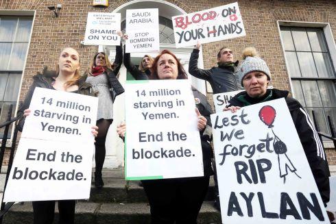 HUMANITARIAN PLEA: Activists protest Saudi Arabia's bombing and blockade of Yemen, outside the Saudi embassy at Fitzwilliam Square East, Dublin. Photograph: Leah Farrell/RollingNews.ie