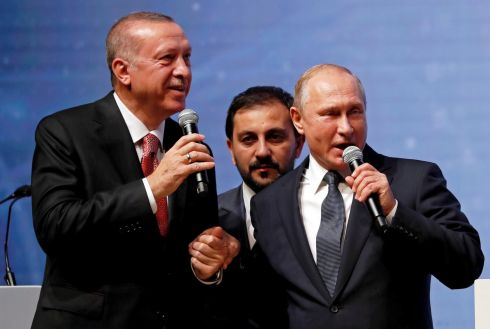 IN THE PIPELINE: Turkish president Recep Tayyip Erdogan and his Russian counterpart Vladimir Putin at a ceremony marking completion of the sea section of the TurkStream gas pipeline, in Istanbul, Turkey. Photograph: Murad Sezer/Reuters