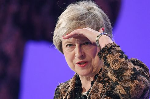 BREXIT IMBROGLIO: British prime minister Theresa May speaks at the annual Confederation of British Industry conference in London. She was expected to tell business leaders her Brexit deal with the EU would allow Britain to take back control of its borders. Photograph: Andy Rain/EPA