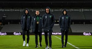 Ireland's Shane Duffy, Robbie Brady and Shaun Williams on the pitch in Aarhus before the Nations League meeting with Denmark. Photo: Ryan Byrne/Inpho