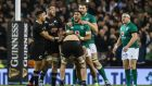 Ireland's Bundee Aki and Ian Henderson celebrate at the final whistle Photograph: Gary Carr/INPHO