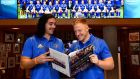 Leinster players James Lowe (left) and James Treacy at the launch of a picutre diary charting Leinster Rugby's historic double winning season, on Monday, November 19th Photograph: Sam Barnes/Sportsfile