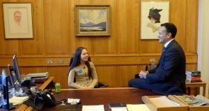 Aoife Murphy and Leo Varadkar in the Taoiseach's office in Government Buildings. Photograph: Dara Mac Dónaill