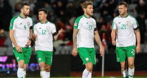 Ireland's Shane Duffy, Enda Stevens, Jeff Hendrick and Kevin Long leave the pitch at half time during the Nations League draw with Denmark. Photo: Ryan Byrne/Inpho