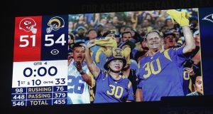 The final score of 54-51 is shown on the screen after the Los Angeles Rams defeated the Kansas City Chiefs. Photograph: Sean M Haffey/Getty