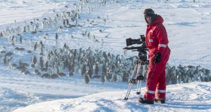 Cameraman Lindsay McCrae filming the Emperor penguin colony, Atka Bay in Antarctica. Photograph: Stefan Christmann/BBC NHU/PA Wire